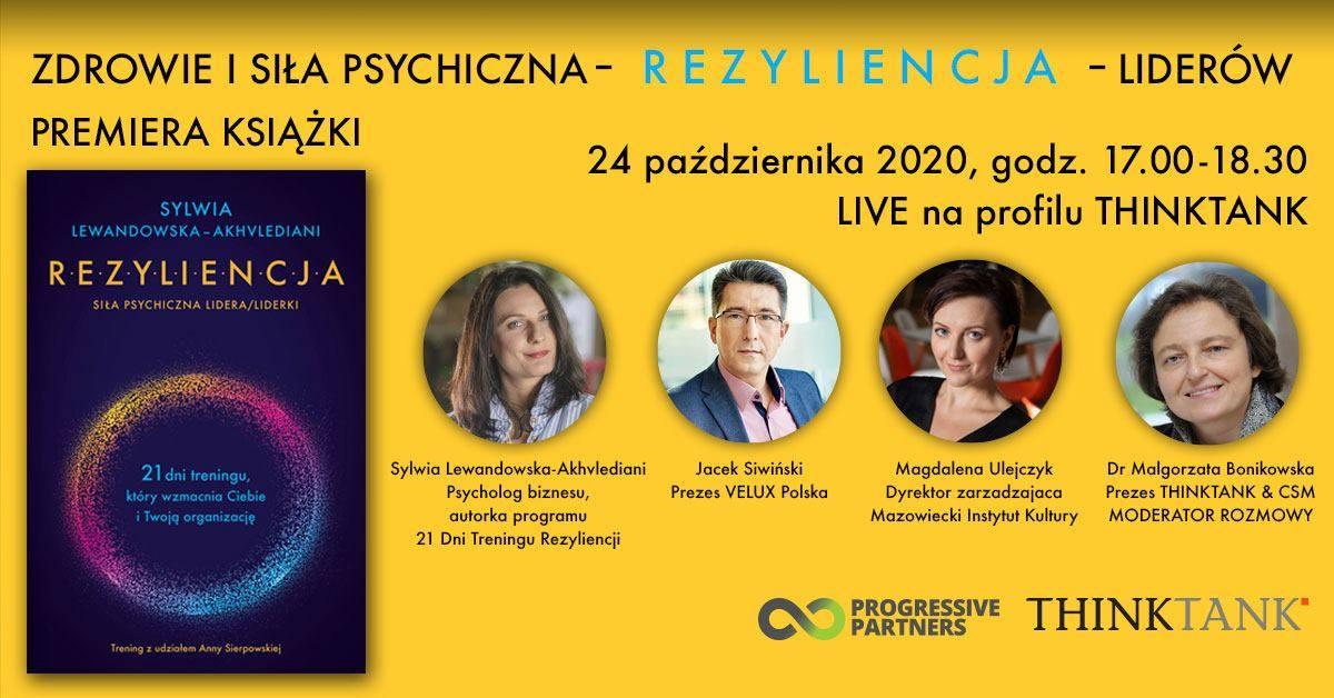 """Premiera książki i dyskusja:  """"Zdrowie i siła psychiczna – REZYLIENCJA – liderów"""""""